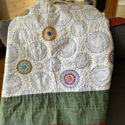Hand embroidered hand quilted cot s..