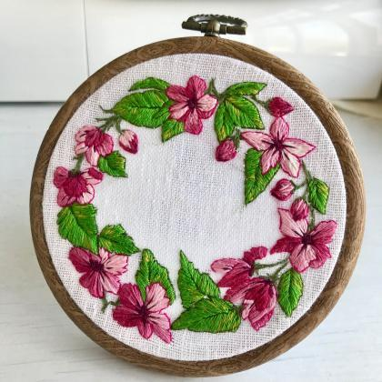 Spring blossom hand embroidered wre..