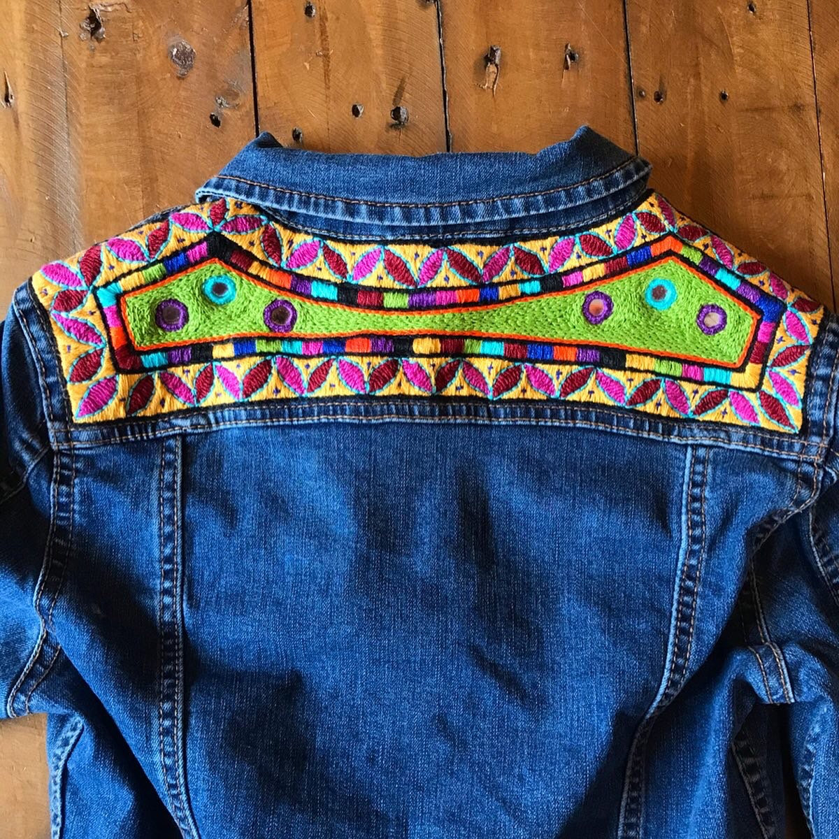 New - Dark Blue Denim hand embroidered Jacket folk tribal embroidered