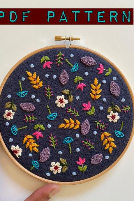Ditsy Print Floral PDF Pattern DIY embroidery pattern