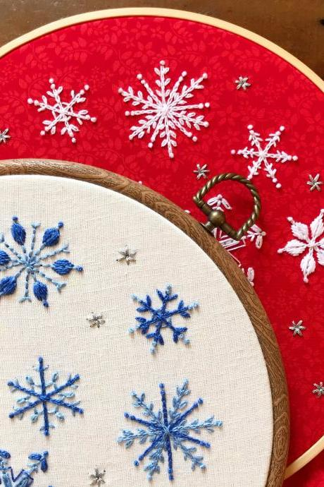 ORIGINAL snowman and snowflakes Christmas winter festive season themed embroidered hoop