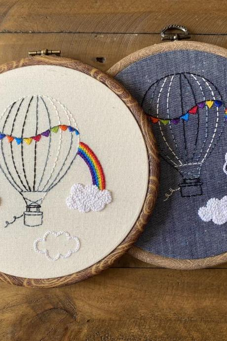 Original Art Hot air balloon rainbow in the clouds embroidered hoop