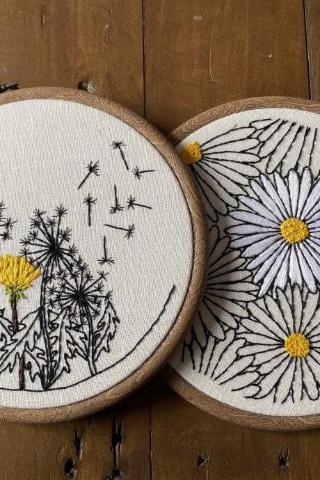 Daisies and dandelion embroidered hoops hand embroidered hoop summer flower embroidered