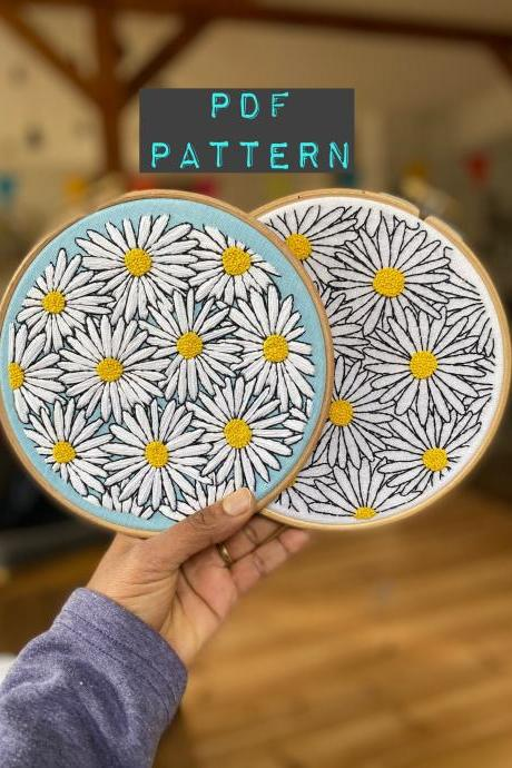 Spring daisies PDF downloadable pattern DIY embroidery
