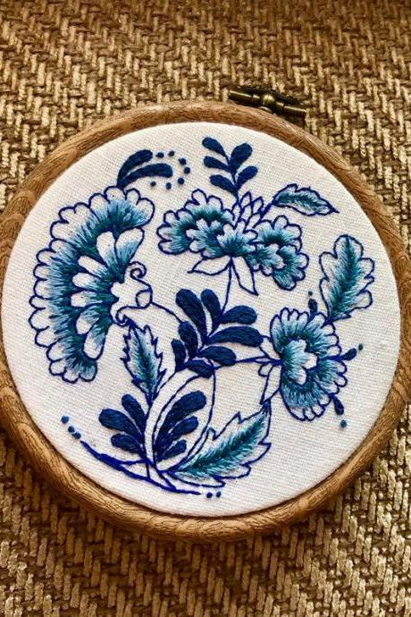 Delft blue pottery inspired hand embroidery hoop