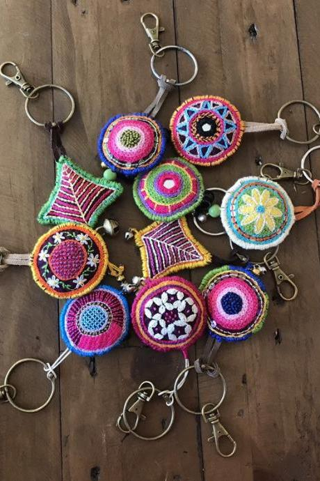 Hand embroidered keychains filled with lavender bag charms Christmas gift