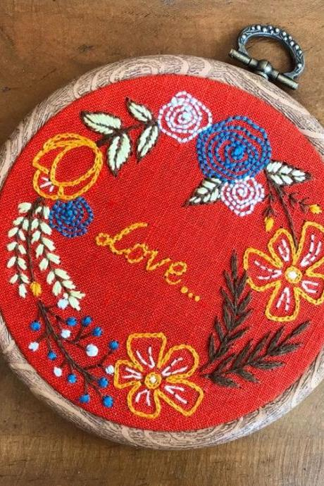 Love wreath embroidery hand embroidered hoop