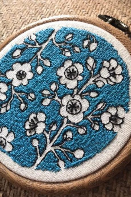 Japanese blue pottery inspired embroidered hoop