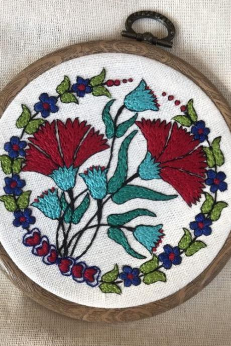 Turkish pottery inspired hand embroidered hoop