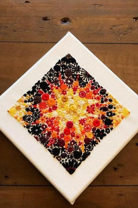 Big Bang hand Embroidered Canvas Floral embroidery