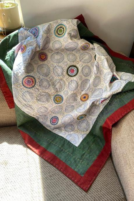 "Hand embroidered hand quilted cot sized baby quilt 36"" X 45"""