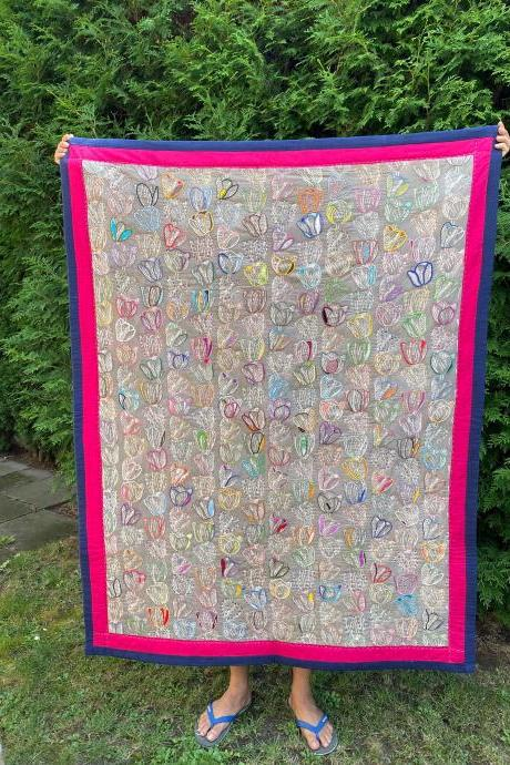 "Hand embroidered and handmade throw quilt 50""X 65"""