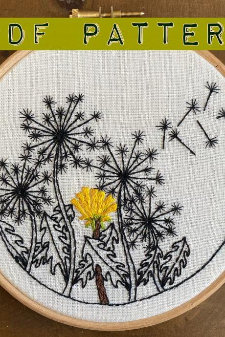 Dandelion Bloom Embroidery PDF Pattern DIY Embroidery pattern Spring Summer Embroidery pattern