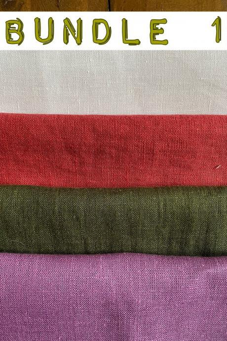 Pre cut linen fabric bundles for embroidery in different colours