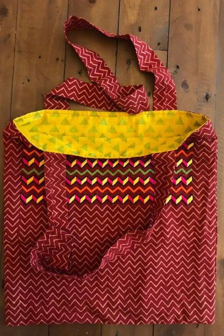 Tribal pattern embroidered bag/ embroidered tote bag/ shopper bag lined bag
