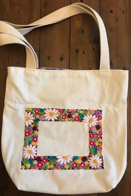 Floral pattern Embroidered Tote Bag/ Gift for self flower embroidered shopper bag lined bag