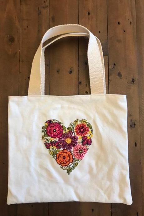 Heart hand embroidered bag unique floral embroidered bag fully lined bag
