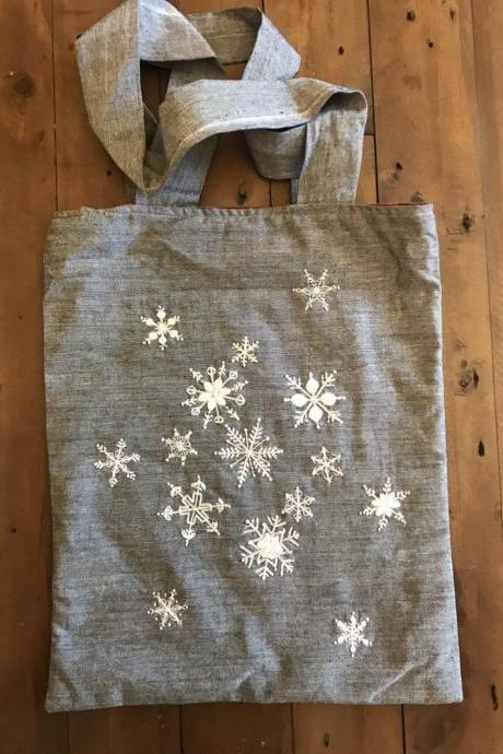 Snowflake hand embroidered tote bag winter embroidery Christmas gift bag