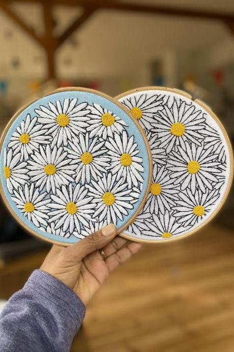 ORIGINAL ART embroidered daisies in the spring handmade embroidery hoop