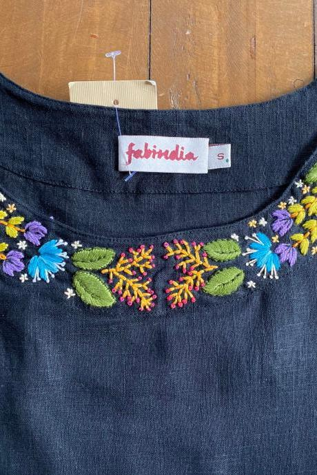 New Black size S pure cotton hand embroidered top