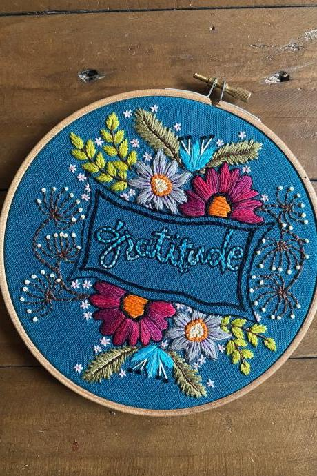Gratitude text spring flowers embroidered floral hoop