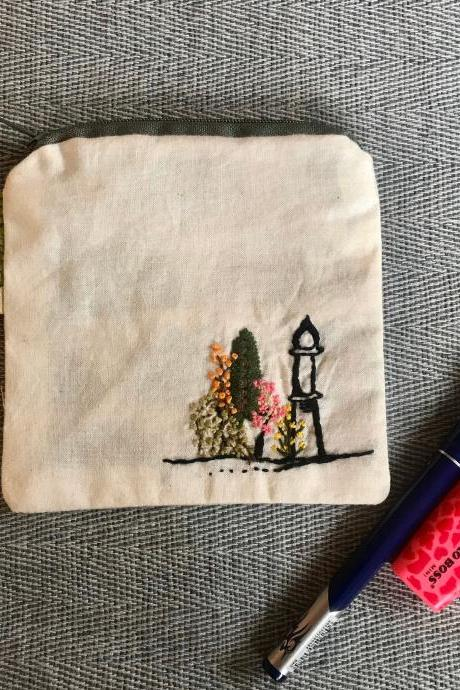 Hand made hand Embroidered Coin Pouch utility purse