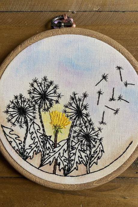 Dandelion hand embroidered and water coloured mixed media hoop for spring