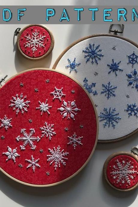 Snowflakes PDF pattern for winter and festive season home decor DIY embroidery pattern