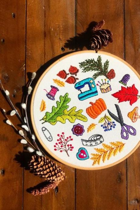 Autumn sewing tools inspired hand embroidered hoop
