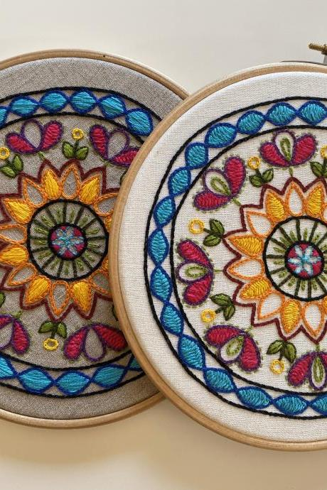 Original Art Colourful Mandala hand embroidered hoop wall decor