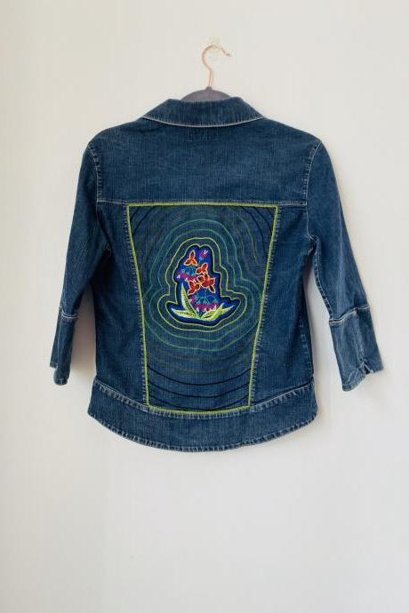 Upcycled hand embroidered hand appliquéd patch denim jacket size S .